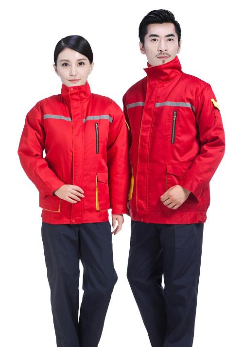红色棉服工作服