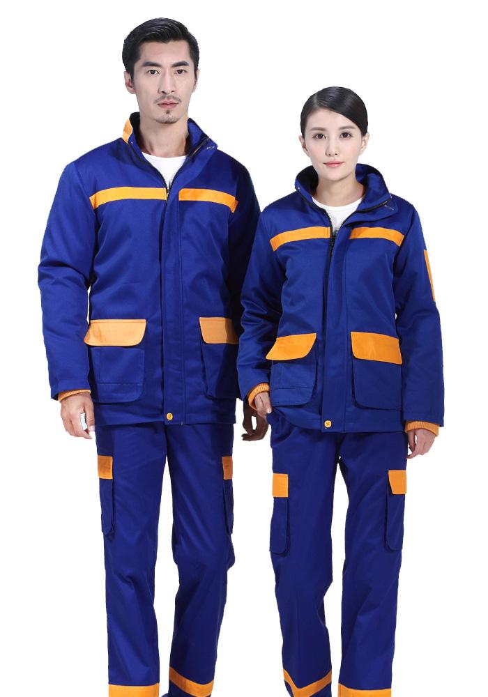 蓝色反光棉服工作服定制