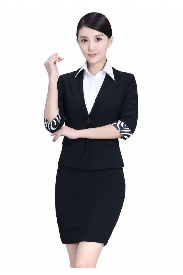 夏装黑色半袖职业装女装